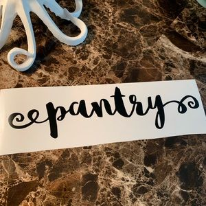 Fun Script Pantry Door Sticker Decal Kitchen Decor